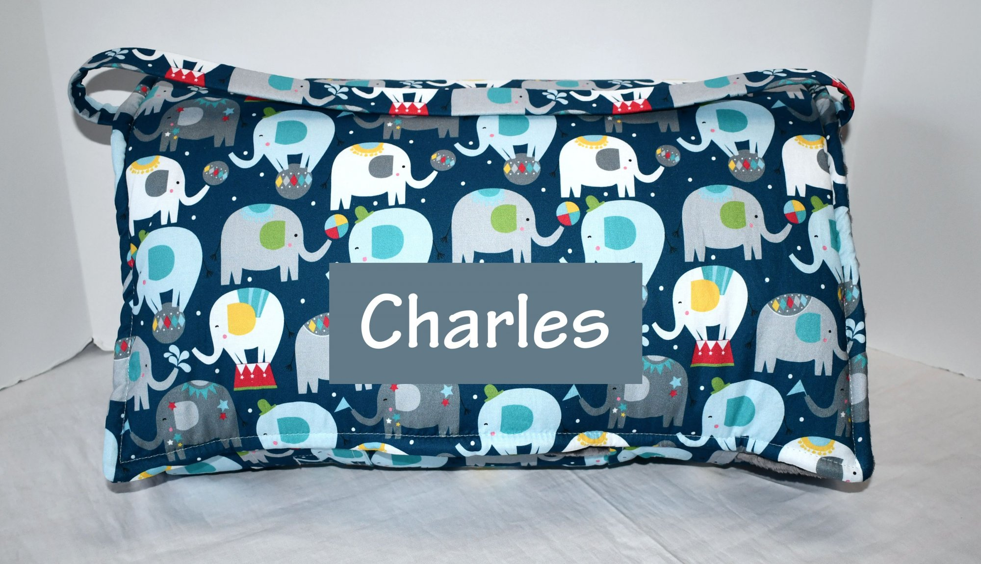 Blue Elephant Piccadilly Circus Kids Nap Mat with Grey Minky Dot Blanket, Personalized Preschool Daycare Kinder Toddler Sleeping Mat
