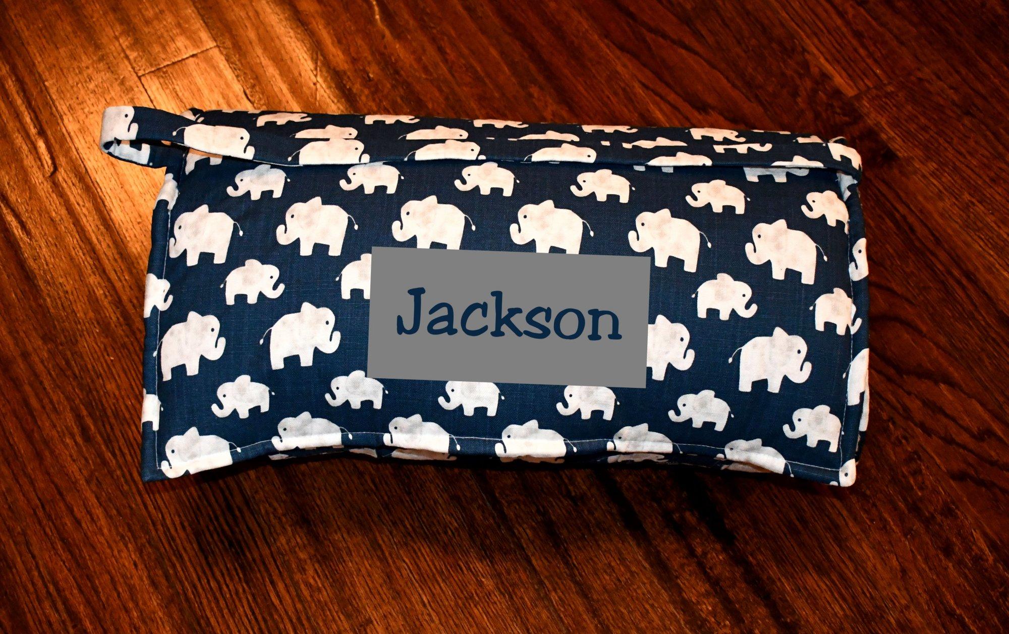 Monogrammed Navy Elephant Hugo Sky Nap Mat with a Grey Minky Dot Blanket