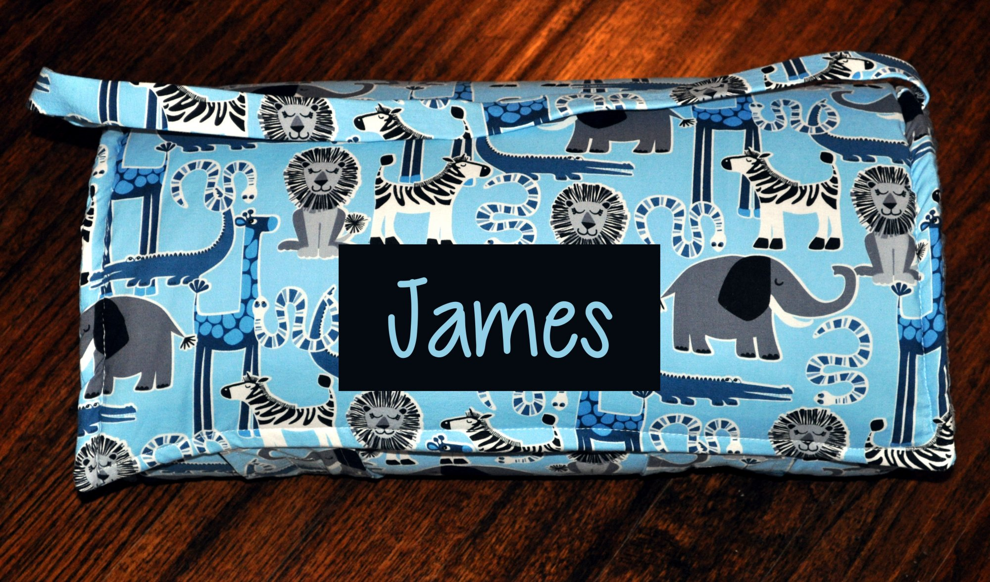 Personalized Safari Animal Friends Nap Mat with a Charcoal Grey Minky Dot Blanket