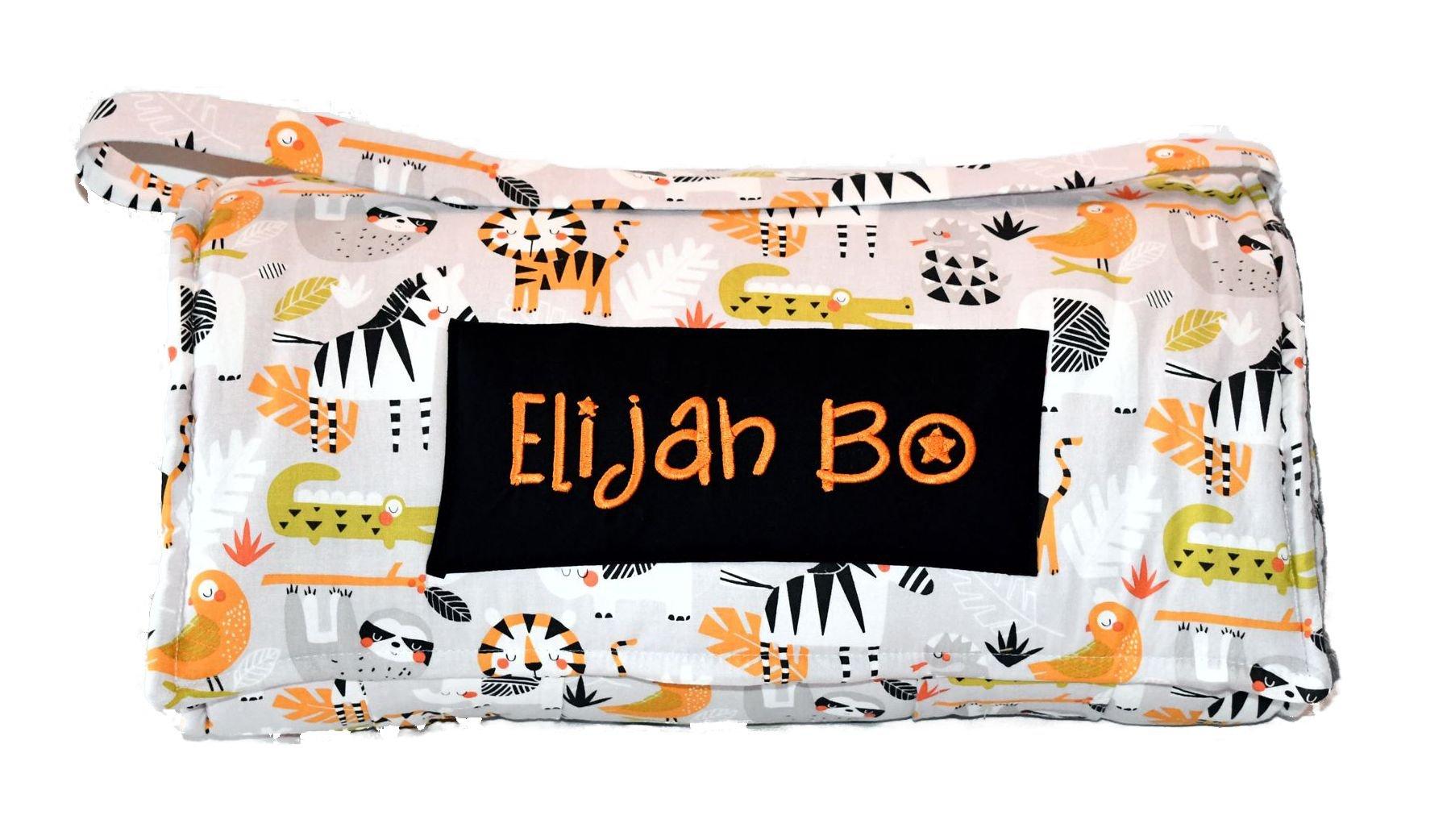 Safari Jungle Grey Kids Nap Mat, Personalized Preschool Zoo Animal Toddler Kinder Nap Mat with a Grey Minky Dot Blanket, Daycare Sleeping Mat