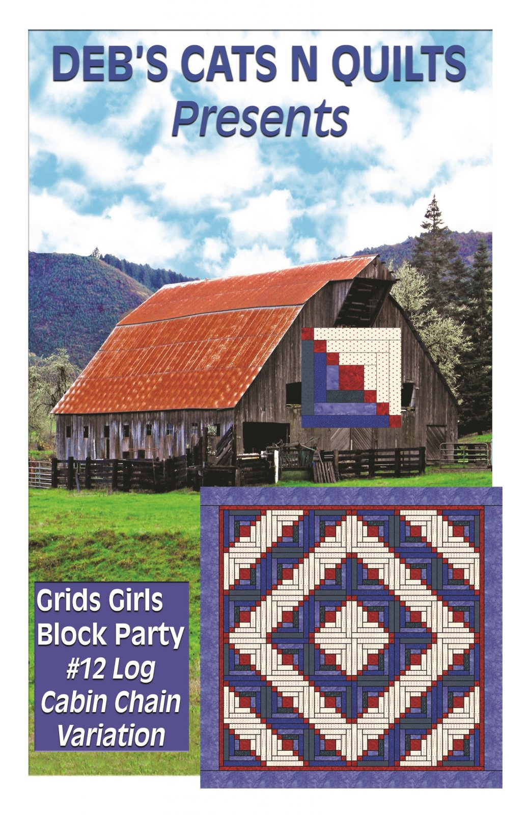 Log Cabin chain Variation- Grids Girls Block Party # 12