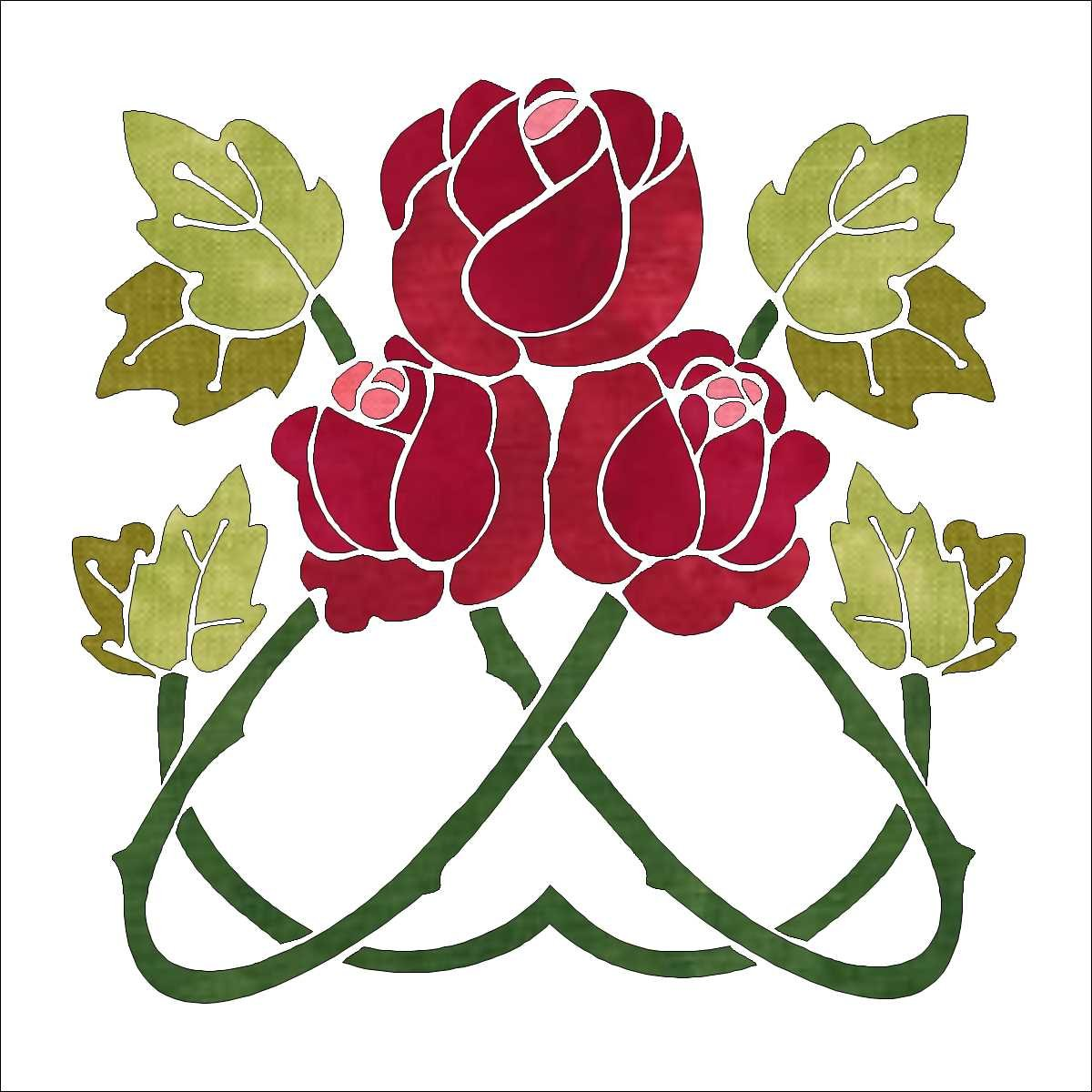 Deco Garden Bonus Block 10 Red Rose Trio