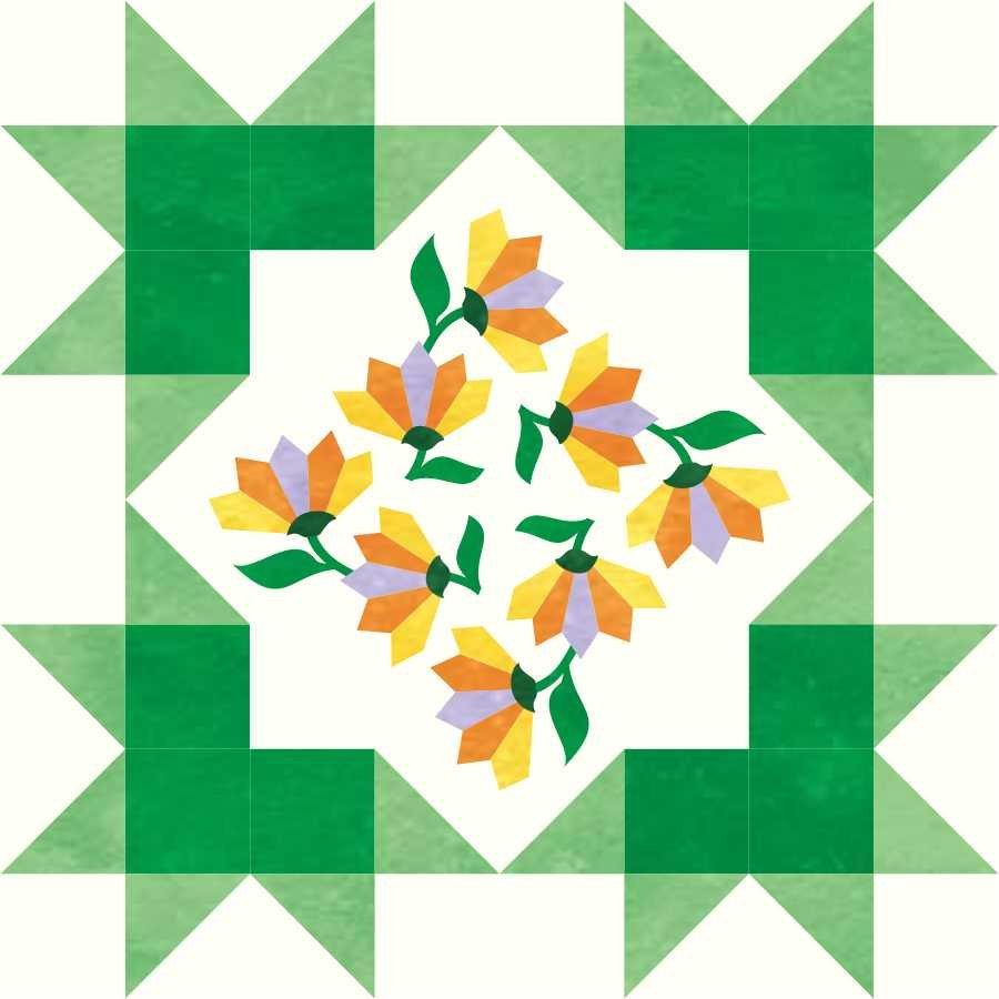 Starburst Blossoms Block 6: Dresden Fan Flower