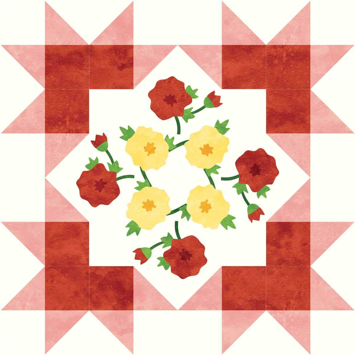 Starburst Blossoms Block 7: Two Roses