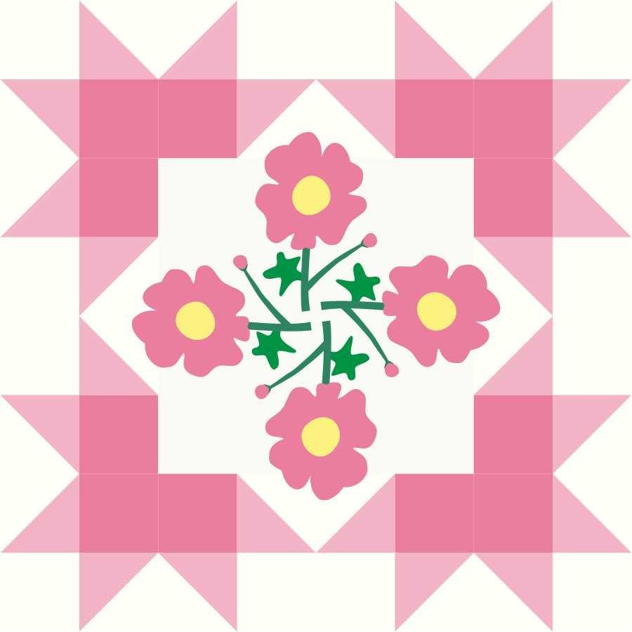 Starburst Blossoms Bonus Block 6 Pink Posies