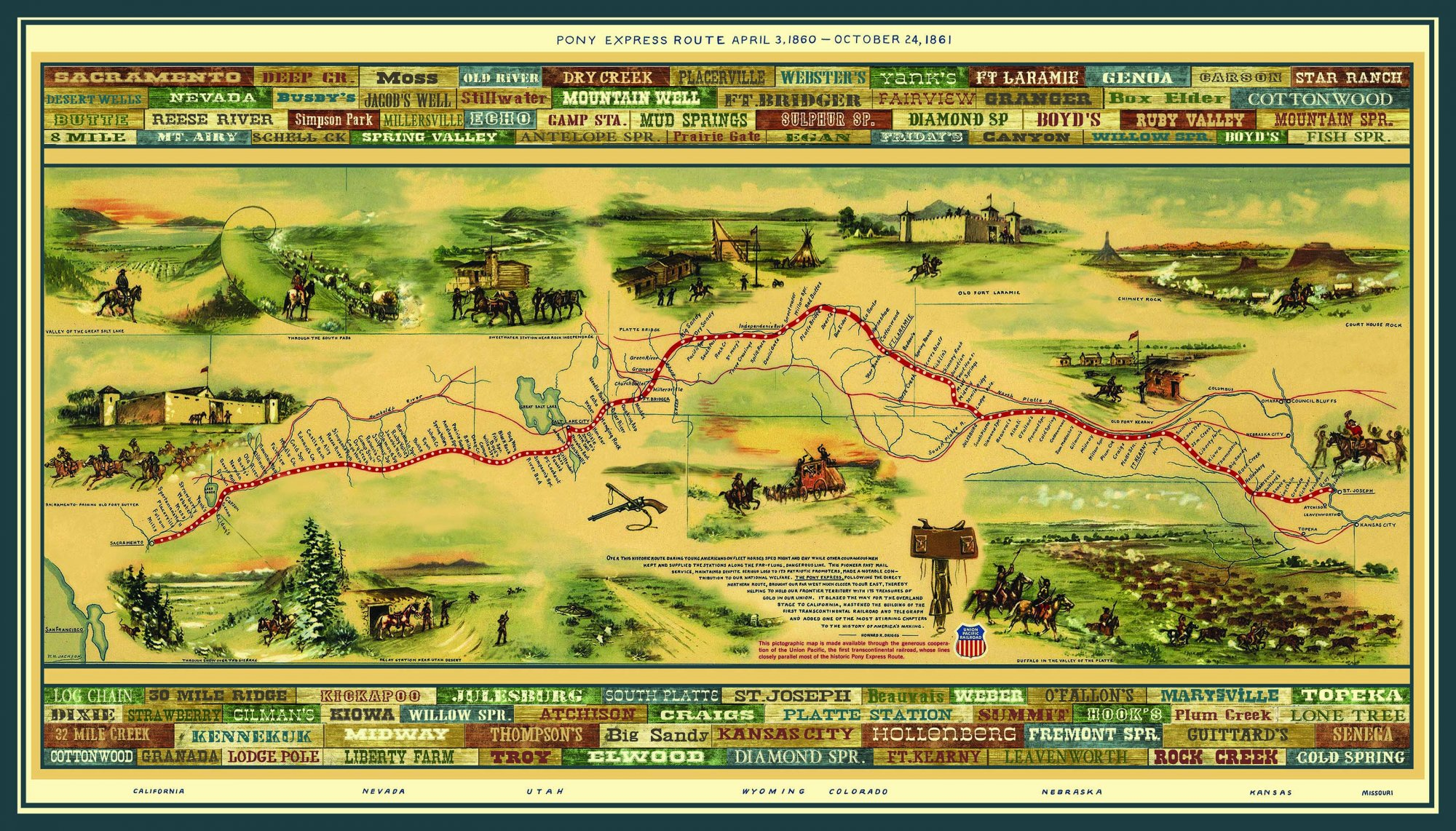Western Journeys Pony Express Fabric Panel