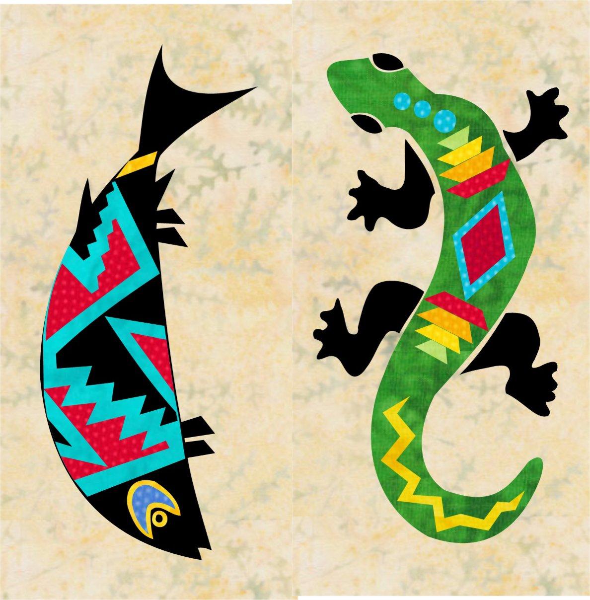 Southwest Sunrise Block 6 - Fish & Lizard