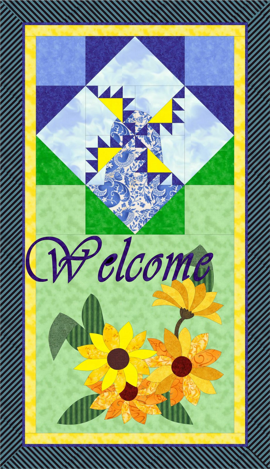 Kansas Sunflower & Windmill Welcome Banner