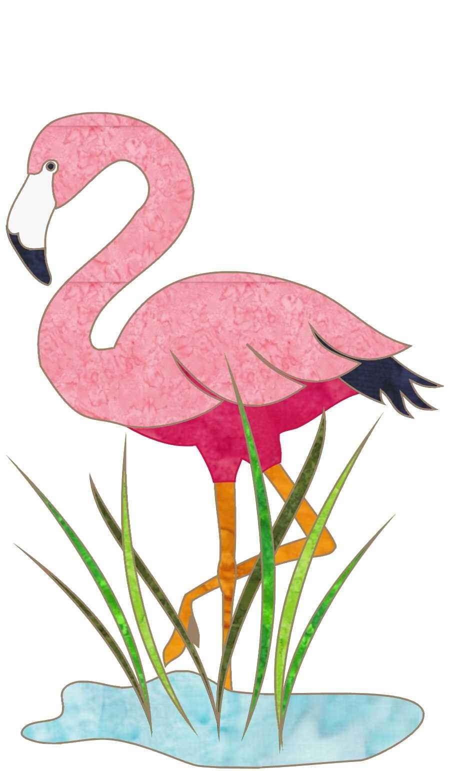 Beach Dreams Block 5 Flamingo in a Puddle