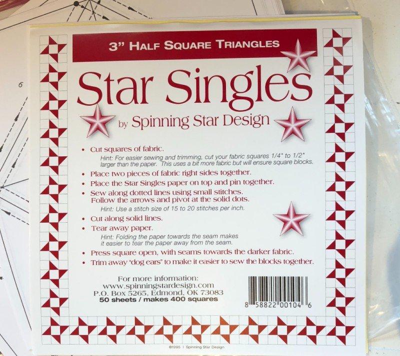 STAR SINGLES HALF SQUARE TRIANGLE PAPER