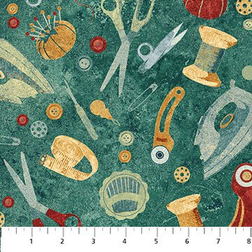 A Stitch in Time allover teal