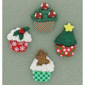 Christmas Cupcake Buttons
