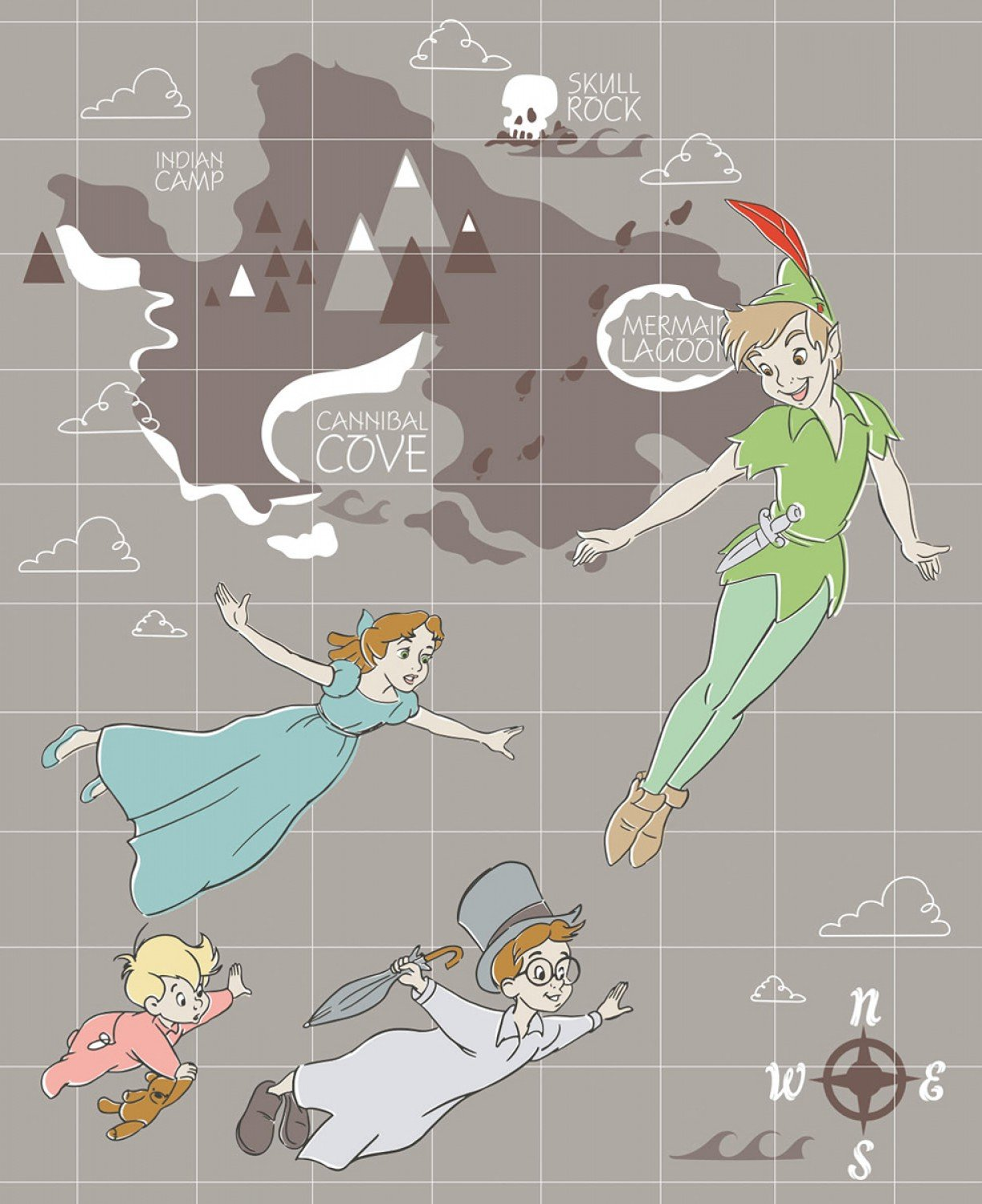 Grey Disney Peter Pan Full size Quilt Panel