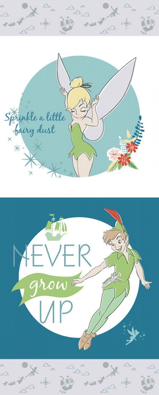 Blue Disney Peter Pan Half Quilt Panel