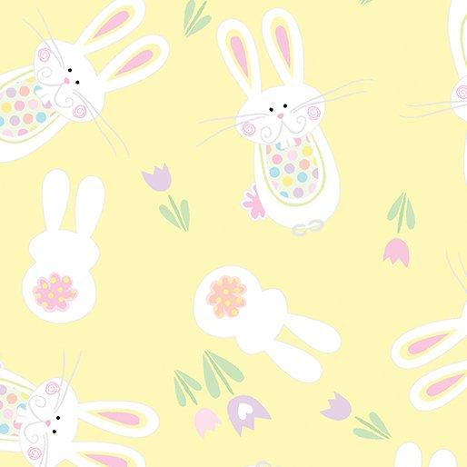 Bouncing Bunny (Yellow), Spring Parade by Greta Lynn for Kanvas/Benartex