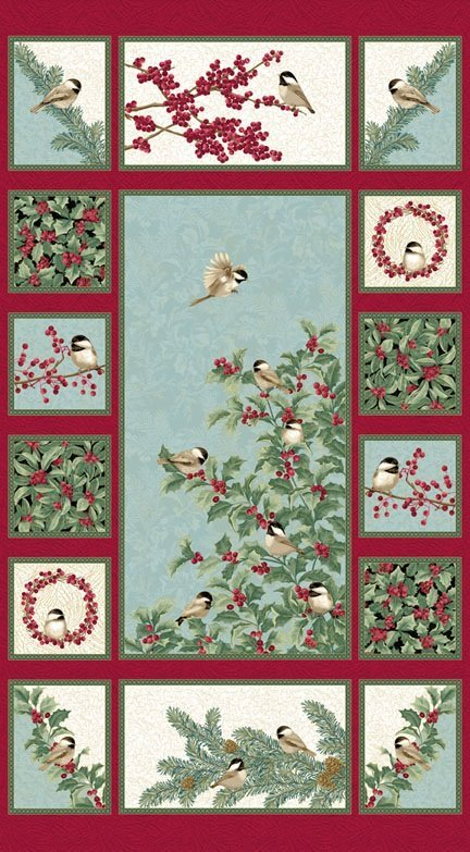 Chickadees and Berries Panel