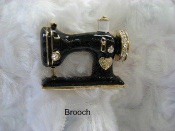 Sewing Machine Pin Black Enamel Brooch Rhinestone