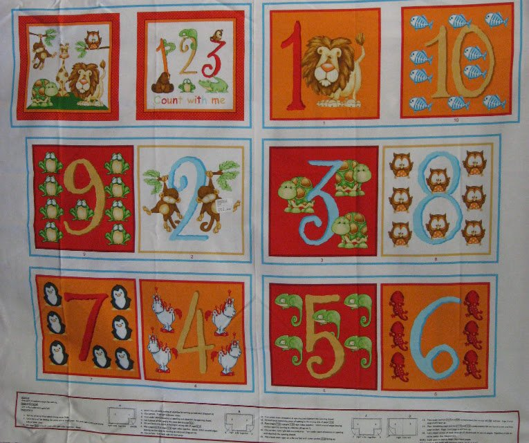 Fabric Book Panel- ABC-123 by Shelly Comiskey