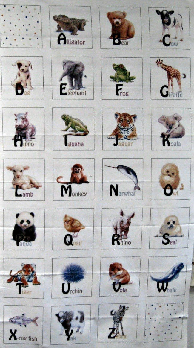 Baby Quilt Panel - animals with letters