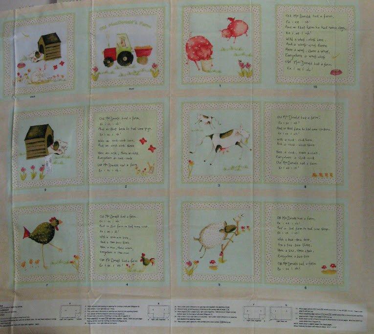 E.I.E.I.O. Fabric Book Panel -