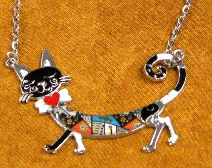 Multicolor Sleepwalking Cat Enamel Pendant Statement Necklace