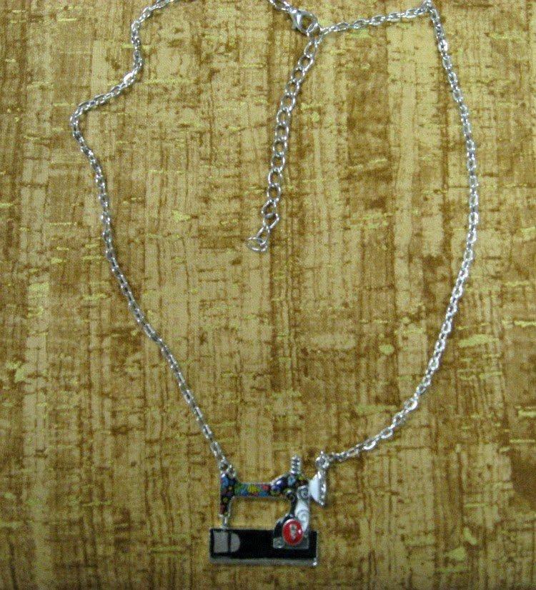 Enamel Alloy Sewing Machine Necklaces Pendants Choker Chain Fashion Jewelry