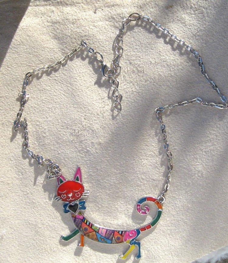 Multicolor Sleepwalking Cat Enamel Pendant Statement Necklace - copy
