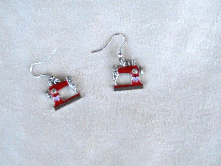 Sewing Machine Earrings (Red)