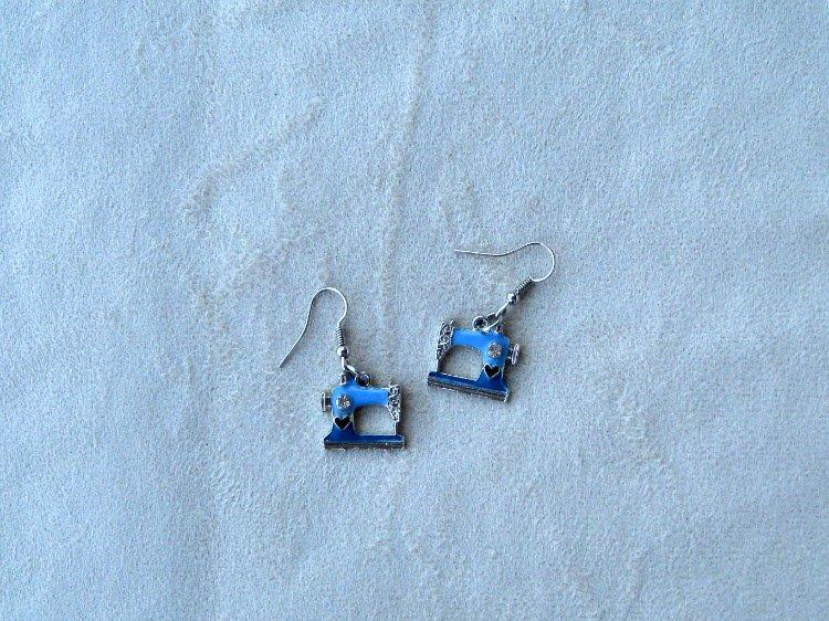 Sewing Machine Earrings (Blue)  - copy