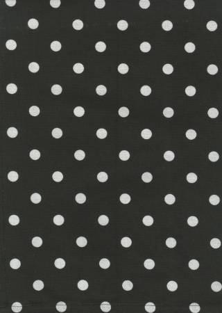 Tea Towel, Printed Polka Dots on Black