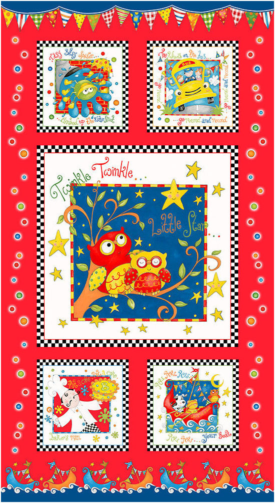 Rhyme Time Quilt Panel by Delphine Cubitt (red)