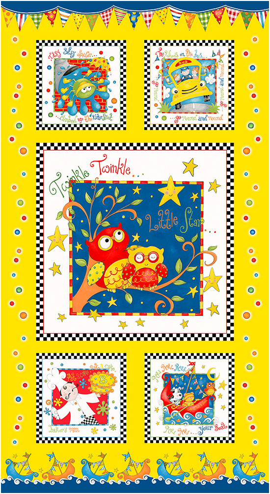 Rhyme Time Quilt Panel by Delphine Cubitt (yellow)