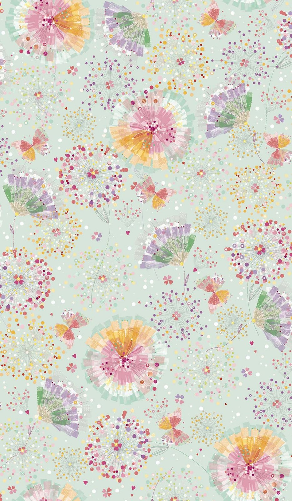 Confetti Blossoms Blossoms & Fan Florals - Light Seafoam