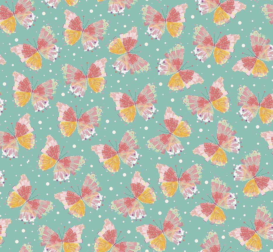 Confetti Blossoms Butterflies - Dark Seafoam
