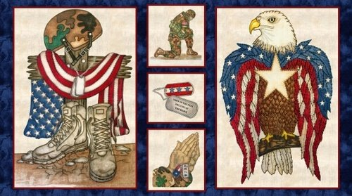 American Honor - Fallen Soldier and Eagle Panel - Cream