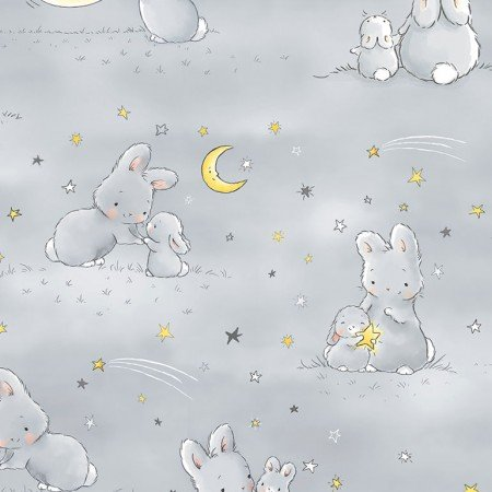 Bunnies and Little Ones with Moons Grey