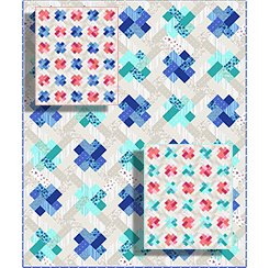 Kisses Quilt Kit - Bright Blue/Bright Aqua