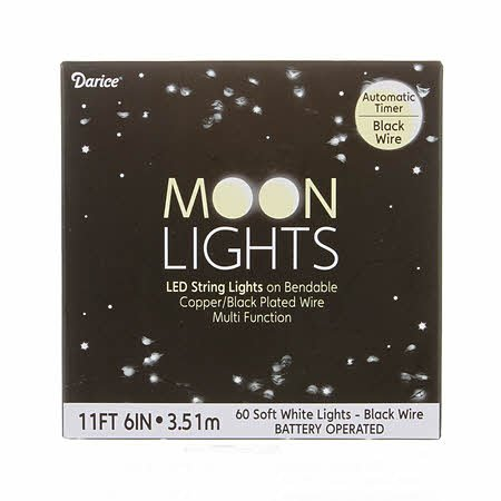 Moon Lights Black Wire Battery Operated