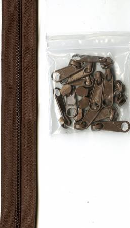 Zippers By The Inch 16mm #4.5 zipper chain Seal Brown