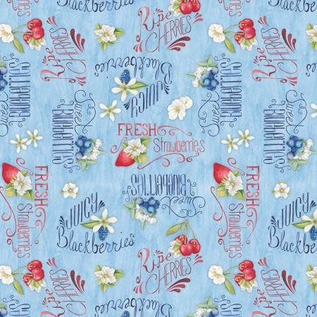 Berry Sweet - Light Blue Berries & Words