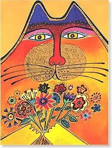 Thank You Card - Cat w/Flowers Laurel Burch