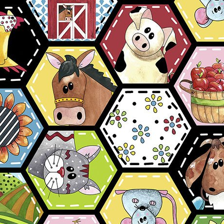 Patchwork Farms - Animal Octagon Patches, Black