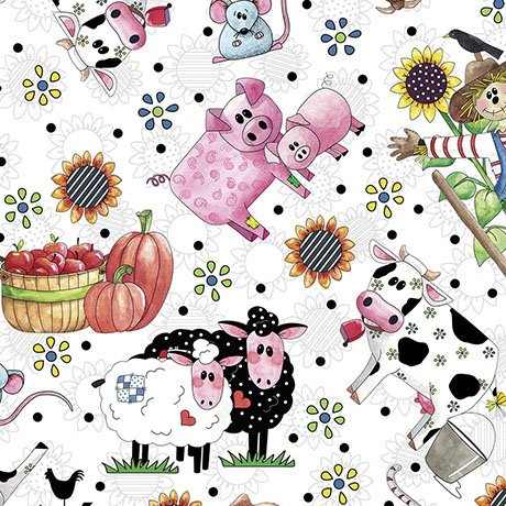 Patchwork Farms - Tossed Animals, White