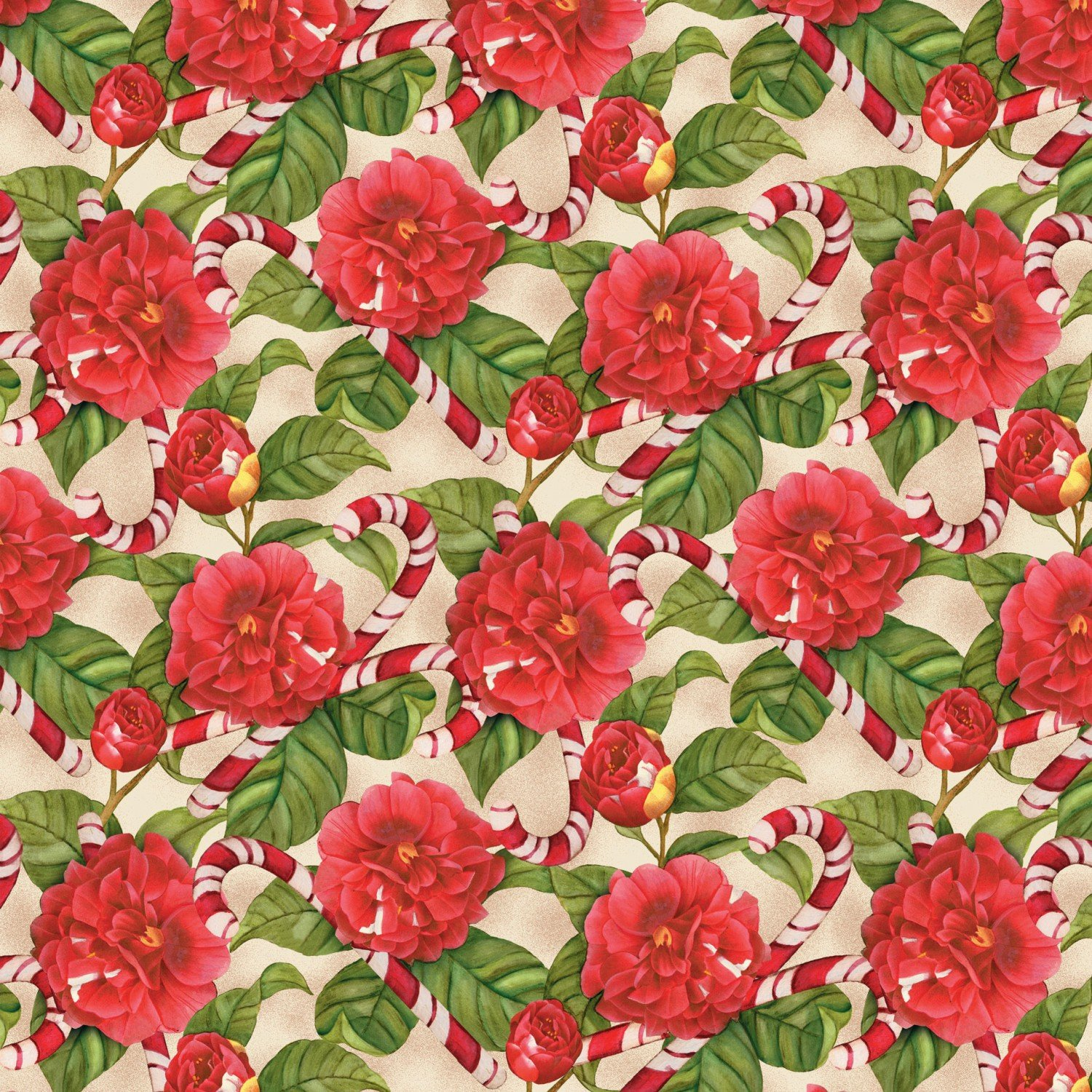 Christmas in The Wildwood - Florals & Candy Cane Tan