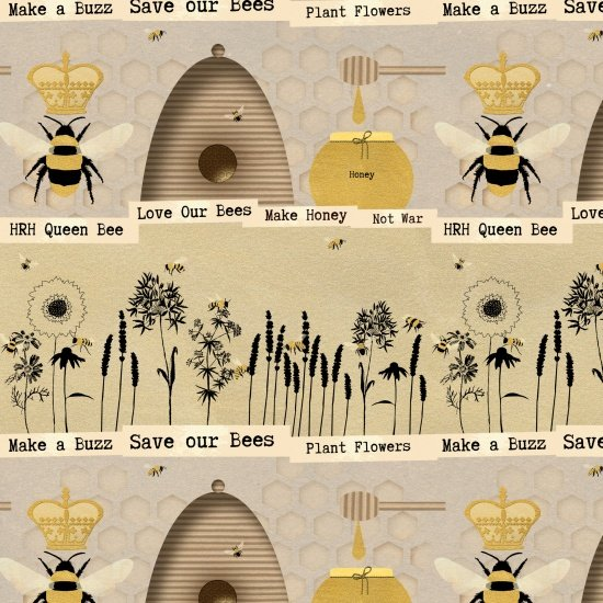 Save Our Bees Novelty Stripe Beige