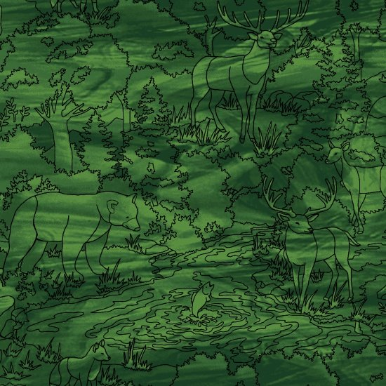 Mosaic Forest - Scenic Linework Green