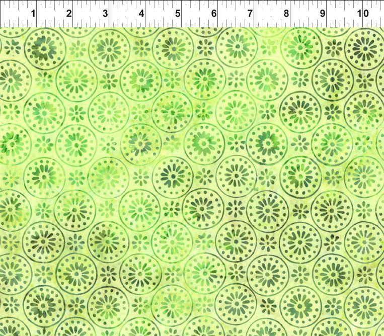 Enchanted Garden - Floragraphix Batiks 4 - Green Circle Flowers