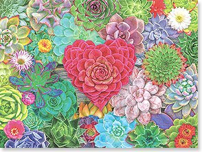 Thank You Card: Flowers/Heart Center
