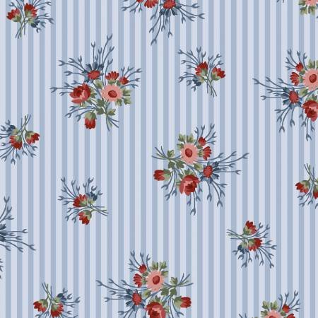 Flowers of Provence - Striped Calico Light Blue