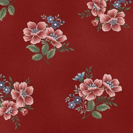 Flowers of Provence - Medium Flower Toss Red